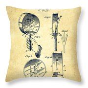 Droop Hand  Drum Patent Drawing From 1892 - Vintage Throw Pillow