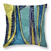Droplet Ornaments In Navy Blue And Gold Throw Pillow
