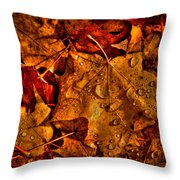 Droplets Of Autumn Throw Pillow