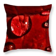 Droplets On Red Throw Pillow