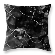 Droplets On The Web Bw Throw Pillow