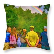 Drum Circle Rainbow Throw Pillow