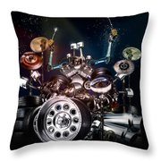 Drum Machine - The Band's Engine Throw Pillow by Alessandro Della Pietra