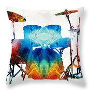 Drum Set Art - Color Fusion Drums - By Sharon Cummings Throw Pillow