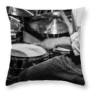 Drummer At Work Throw Pillow