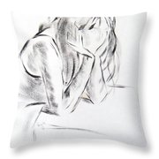 Dry Brush Painting Of A Young Womans Face Throw Pillow