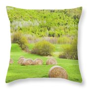 Dry Hay Bales In Spring Farm Field Maine Throw Pillow