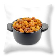 Dry Raisins In A Black Cup Throw Pillow