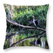drying cormorant- Black bird sitting on log over water Throw Pillow