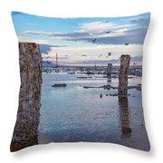 Drying Dock Throw Pillow