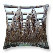 Drying Of The Fish Throw Pillow