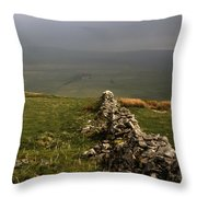 Drystone Wall  Misty Day Kettlewell Wharfedale North Yorkshire England Throw Pillow