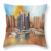 Dubai Marina Complex Throw Pillow