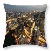 Dubai Marina Twilight Throw Pillow
