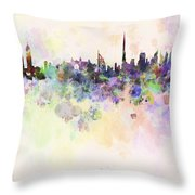 Dubai Skyline In Watercolour Background Throw Pillow