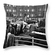 Dublin Cattle Market 1959 Throw Pillow