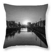 Dublin Sunrise - Liffey River In Black And White Throw Pillow