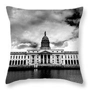 Dublin - The Custom House - Bw Throw Pillow