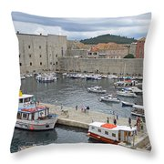 Dubrovnik Old Harbour Throw Pillow
