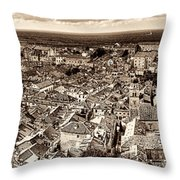 Dubrovnik Rooftops And Lokrum Island Against The Dalmatian Adriatic Sepia Throw Pillow