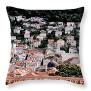 Dubrovnik Rooftops Domes And North East Walls Against The Mountains From The Sea Walls Throw Pillow