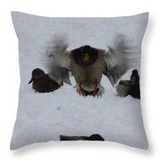 Duck Crash Landing Throw Pillow
