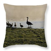 Duck Family Panorama Throw Pillow by Bill Cannon