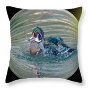 Duck In A Bubble  Throw Pillow
