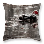 Duck In Lake  Throw Pillow