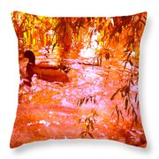 Duck In Warm Light Throw Pillow