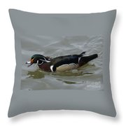 Angry Wood Duck Throw Pillow