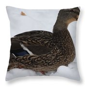 Duck Playing In The Snow Throw Pillow