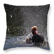Duck Shower Throw Pillow