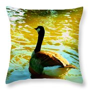 Duck Swimming Away Throw Pillow