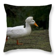 Duck With Stylish Hair Throw Pillow