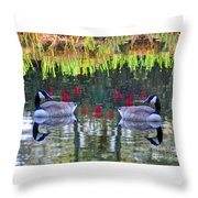 Duckland Pond Reflections Throw Pillow