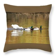 Ducks And Egret Throw Pillow