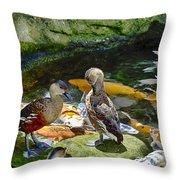 Ducks At The Koi Pond Throw Pillow