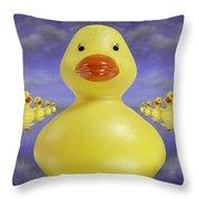 Ducks In A Row 3 Throw Pillow