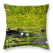 Ducks In Lily Pond Throw Pillow