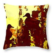 Ducks On Red Lake 3 Throw Pillow