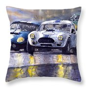 Duel Ac Cobra And Shelby Daytona Coupe 1965 Throw Pillow