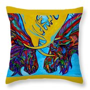 Duelling Moose Throw Pillow