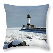 Duluth Harbor Lighthouse Throw Pillow