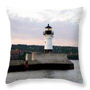 Duluth Mn Lighthouse Skyline Throw Pillow