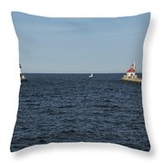 Duluth N And S Pier Lighthouses 5 Throw Pillow
