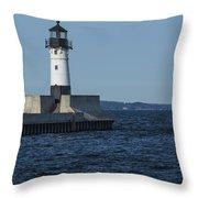 Duluth N Pier Lighthouse 40 Throw Pillow