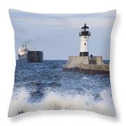 Duluth N Pierhead And Ship 1 Throw Pillow