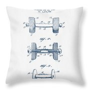 Dumbbell Patent Drawing From 1935  -  Blue Ink Throw Pillow