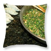 Dumpling Preparation Throw Pillow